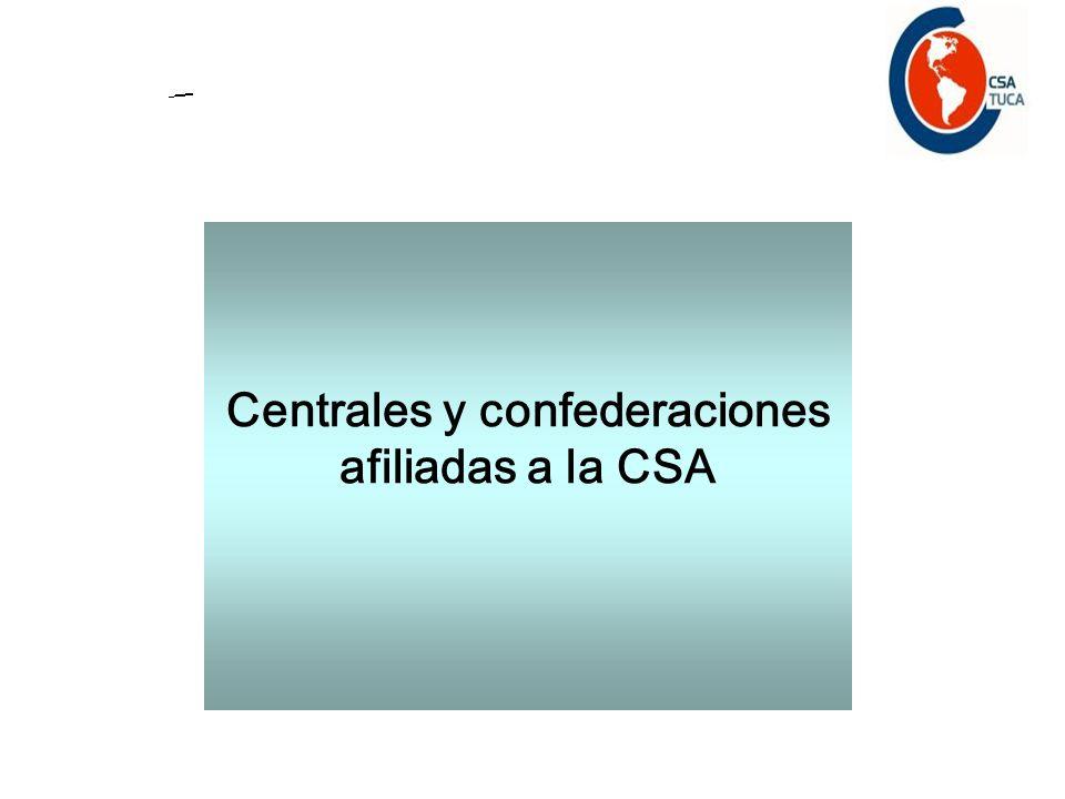 Centrales y confederaciones afiliadas a la CSA
