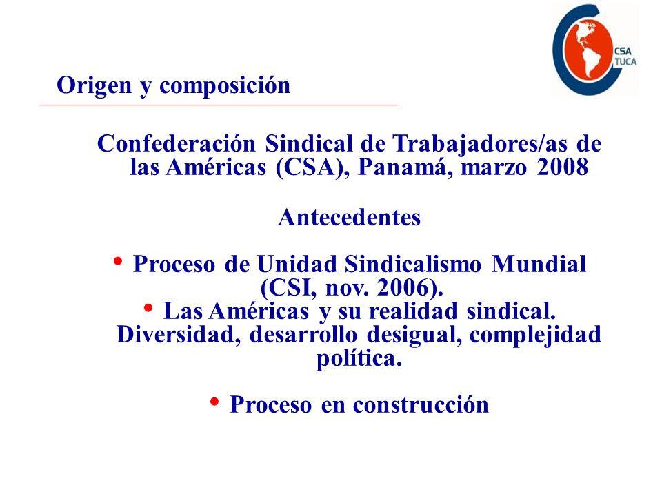 Origen y composición Confederación Sindical de Trabajadores/as de las Américas (CSA), Panamá, marzo 2008 Antecedentes Proceso de Unidad Sindicalismo Mundial (CSI, nov.