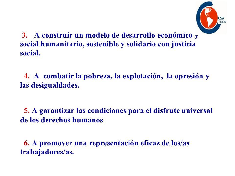 3. A construír un modelo de desarrollo económico y social humanitario, sostenible y solidario con justicia social. 4. A combatir la pobreza, la explot