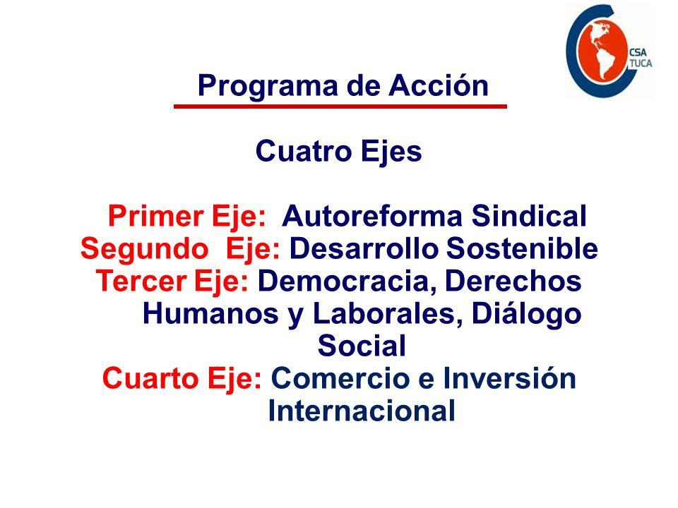 Programa de acción Programa de Acción Cuatro Ejes Primer Eje: Autoreforma Sindical Segundo Eje: Desarrollo Sostenible Tercer Eje: Democracia, Derechos Humanos y Laborales, Diálogo Social Cuarto Eje: Comercio e Inversión Internacional