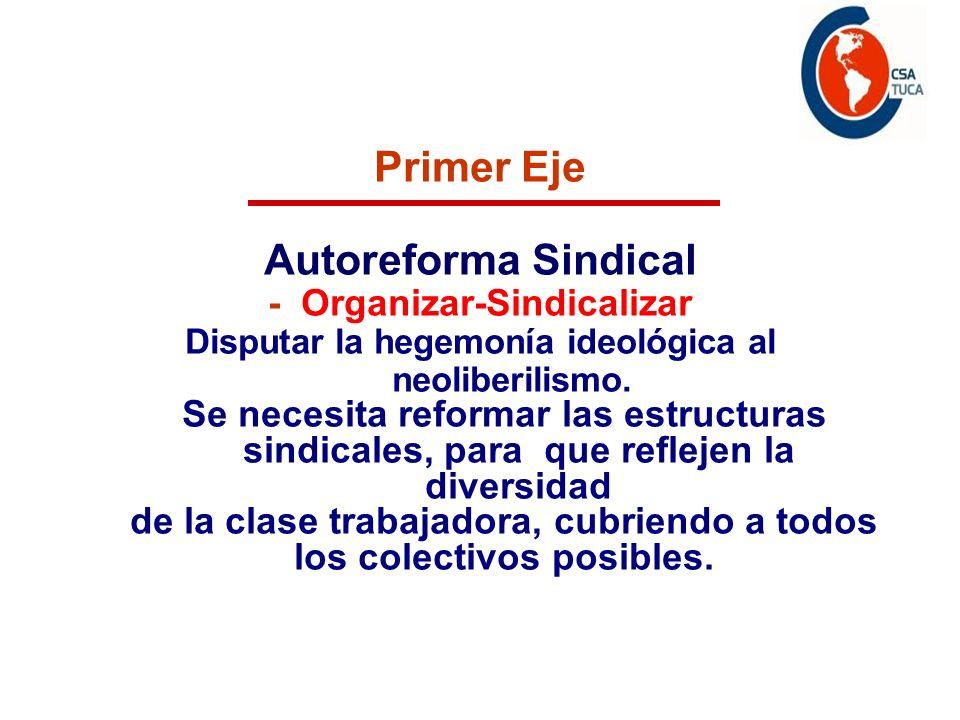 Programa de acción Primer Eje Autoreforma Sindical - Organizar-Sindicalizar Disputar la hegemonía ideológica al neoliberilismo.