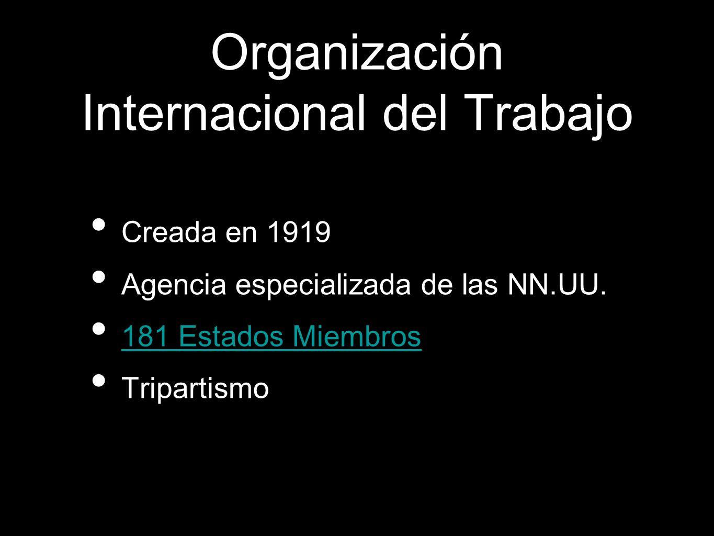 Creada en 1919 Agencia especializada de las NN.UU. 181 Estados Miembros Tripartismo Organización Internacional del Trabajo