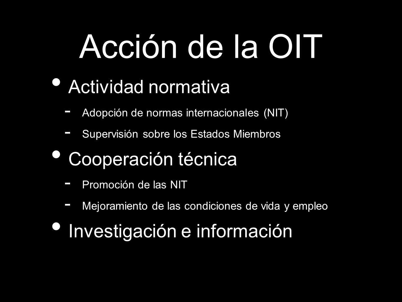 Actividad normativa - Adopción de normas internacionales (NIT) - Supervisión sobre los Estados Miembros Cooperación técnica - Promoción de las NIT - M