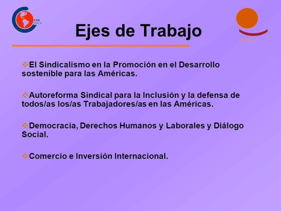 Ejes de Trabajo El Sindicalismo en la Promoción en el Desarrollo sostenible para las Américas. Autoreforma Sindical para la Inclusión y la defensa de