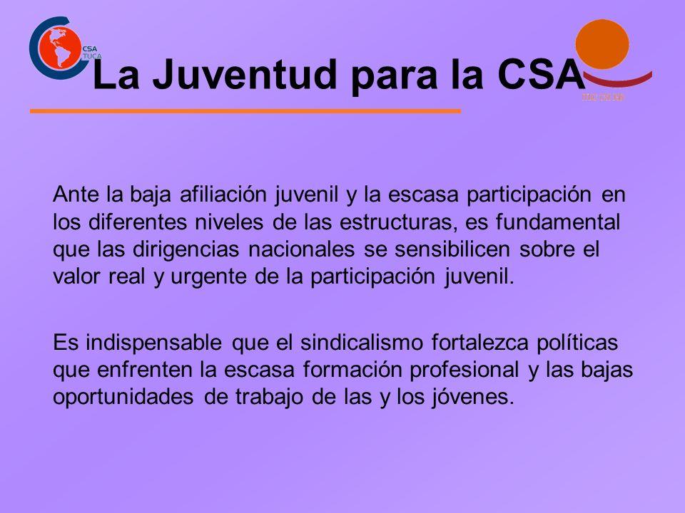 La Juventud para la CSA Ante la baja afiliación juvenil y la escasa participación en los diferentes niveles de las estructuras, es fundamental que las