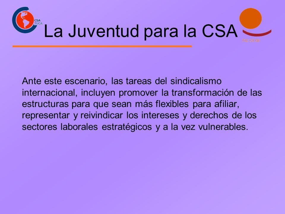 La Juventud para la CSA Ante este escenario, las tareas del sindicalismo internacional, incluyen promover la transformación de las estructuras para qu