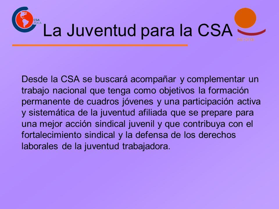 La Juventud para la CSA Desde la CSA se buscará acompañar y complementar un trabajo nacional que tenga como objetivos la formación permanente de cuadr