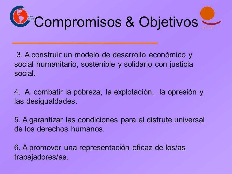 Compromisos & Objetivos 3. A construír un modelo de desarrollo económico y social humanitario, sostenible y solidario con justicia social. 4. A combat