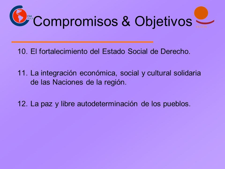 Compromisos & Objetivos 10.El fortalecimiento del Estado Social de Derecho. 11.La integración económica, social y cultural solidaria de las Naciones d