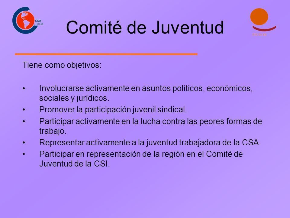 Comité de Juventud Tiene como objetivos: Involucrarse activamente en asuntos políticos, económicos, sociales y jurídicos. Promover la participación ju