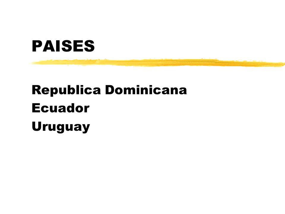 PAISES Republica Dominicana Ecuador Uruguay