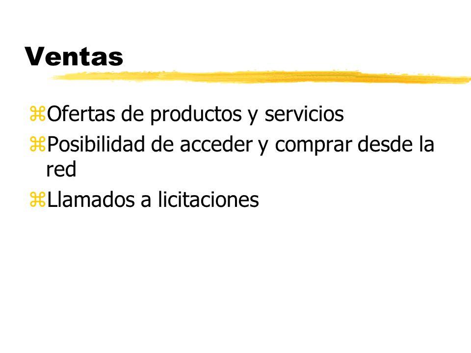 Ventas zOfertas de productos y servicios zPosibilidad de acceder y comprar desde la red zLlamados a licitaciones