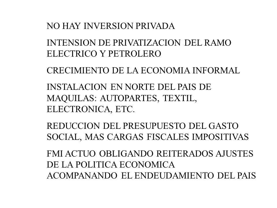 NO HAY INVERSION PRIVADA INTENSION DE PRIVATIZACION DEL RAMO ELECTRICO Y PETROLERO CRECIMIENTO DE LA ECONOMIA INFORMAL INSTALACION EN NORTE DEL PAIS D