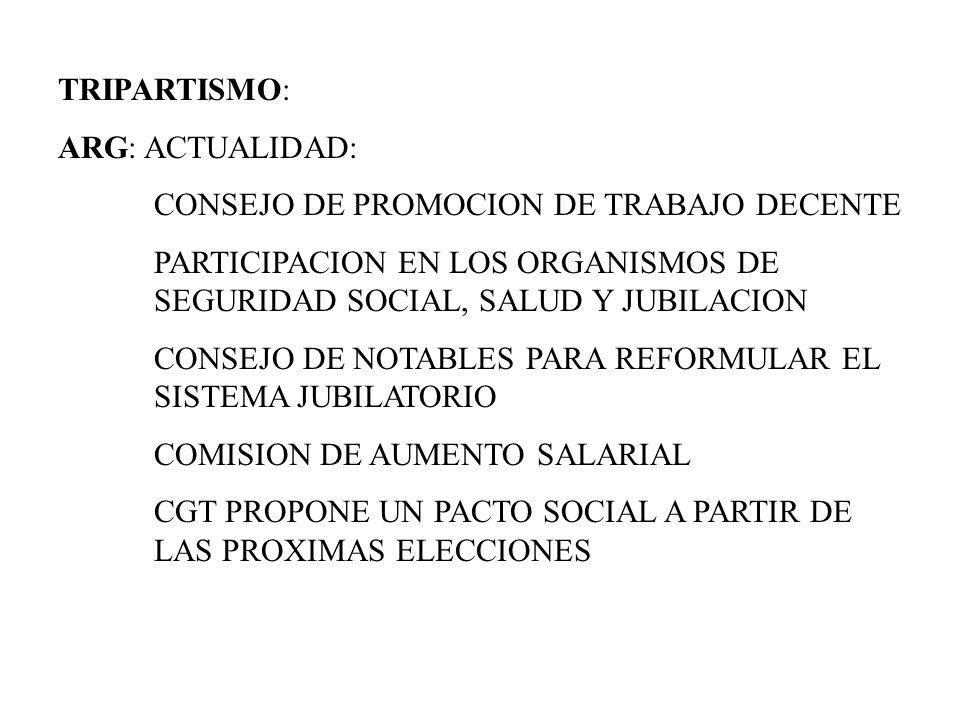 TRIPARTISMO: ARG: ACTUALIDAD: CONSEJO DE PROMOCION DE TRABAJO DECENTE PARTICIPACION EN LOS ORGANISMOS DE SEGURIDAD SOCIAL, SALUD Y JUBILACION CONSEJO