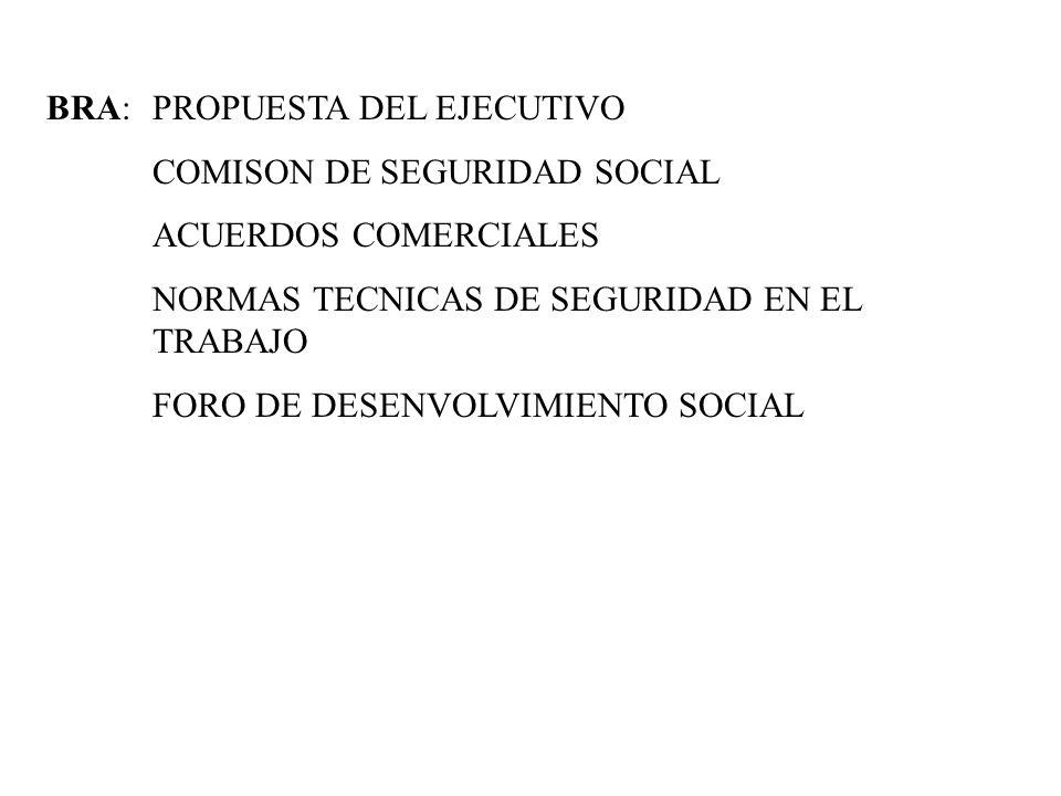 BRA:PROPUESTA DEL EJECUTIVO COMISON DE SEGURIDAD SOCIAL ACUERDOS COMERCIALES NORMAS TECNICAS DE SEGURIDAD EN EL TRABAJO FORO DE DESENVOLVIMIENTO SOCIA