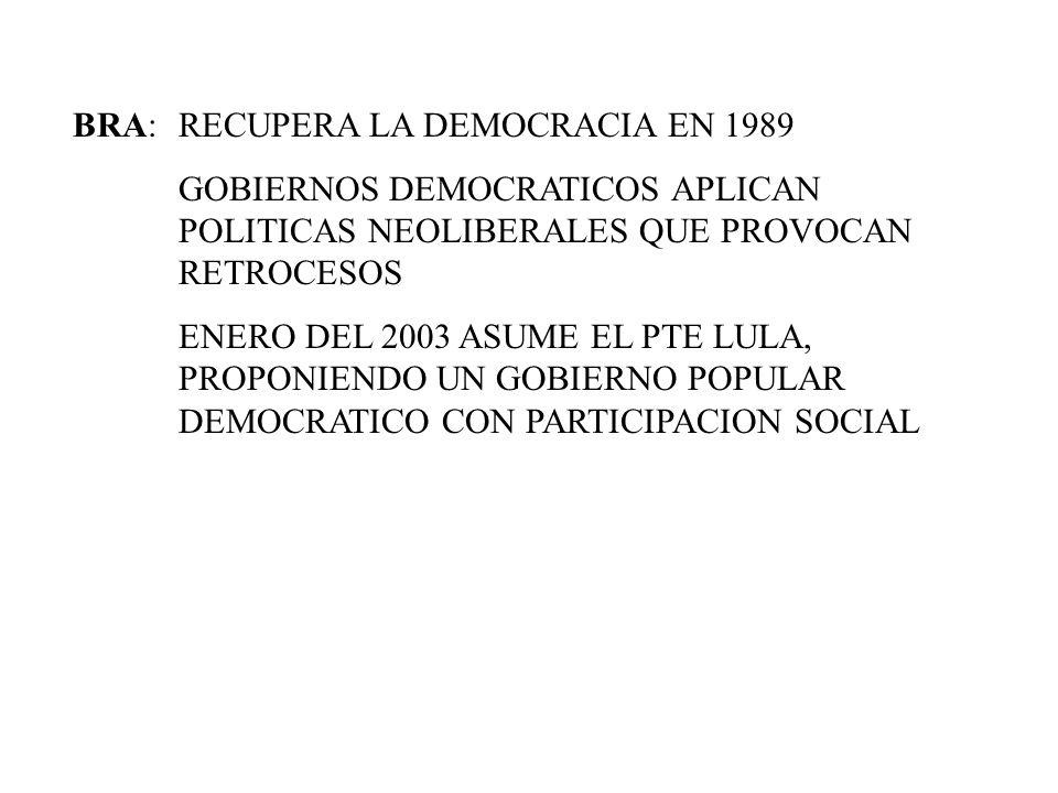 BRA:RECUPERA LA DEMOCRACIA EN 1989 GOBIERNOS DEMOCRATICOS APLICAN POLITICAS NEOLIBERALES QUE PROVOCAN RETROCESOS ENERO DEL 2003 ASUME EL PTE LULA, PRO