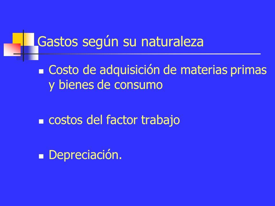 Gastos según su función y naturaleza Según su función Costo de ventas Distribución de costos Costos de distribución y desarrollo Costos de administración Esquema de Costos de coparticipación a los beneficios