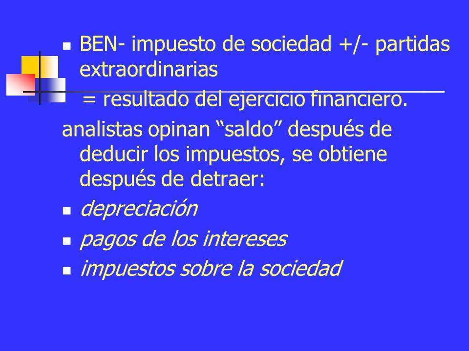 La cuenta de pérdidas y ganancias Ventas netas - costo de ventas = beneficio de explotación (BEB).