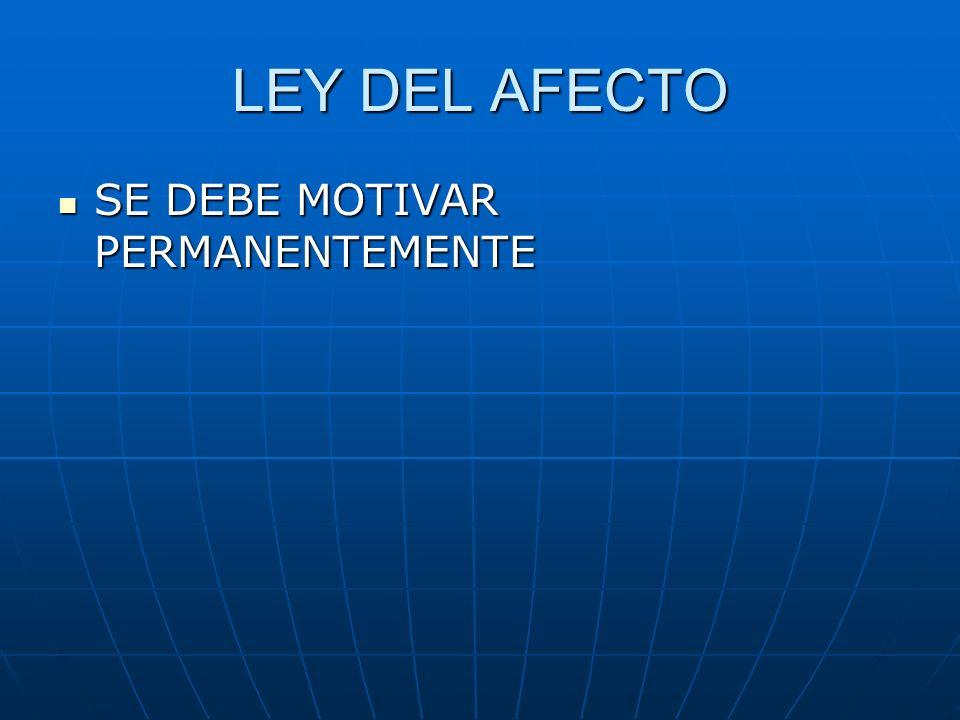 LEY DEL AFECTO SE DEBE MOTIVAR PERMANENTEMENTE SE DEBE MOTIVAR PERMANENTEMENTE