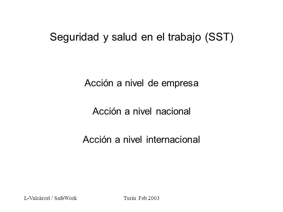 L-Valcárcel / SafeWorkTurín Feb 2003 Seguridad y salud en el trabajo (SST) Acción a nivel de empresa Acción a nivel nacional Acción a nivel internacional