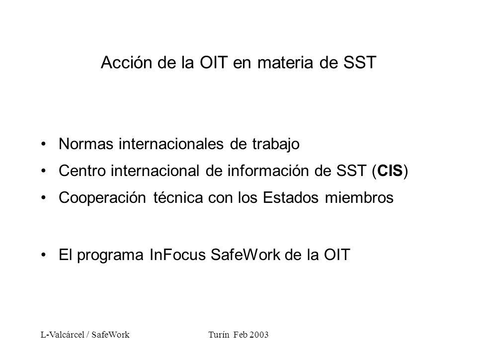 L-Valcárcel / SafeWorkTurín Feb 2003 Acción de la OIT en materia de SST Normas internacionales de trabajo Centro internacional de información de SST (CIS) Cooperación técnica con los Estados miembros El programa InFocus SafeWork de la OIT