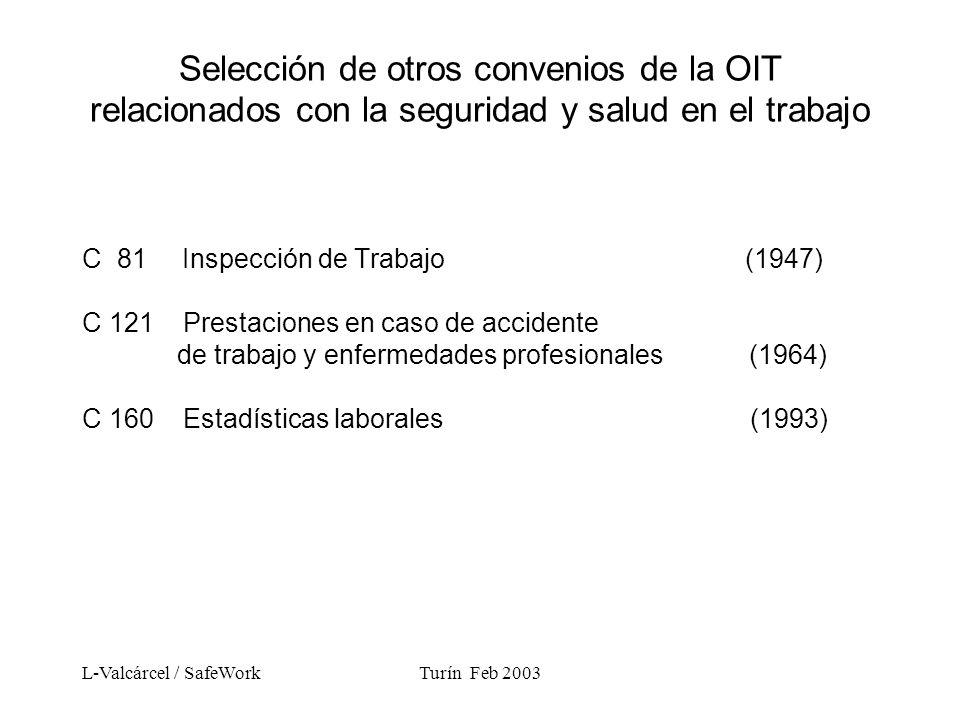 L-Valcárcel / SafeWorkTurín Feb 2003 Selección de otros convenios de la OIT relacionados con la seguridad y salud en el trabajo C 81 Inspección de Trabajo (1947) C 121 Prestaciones en caso de accidente de trabajo y enfermedades profesionales (1964) C 160 Estadísticas laborales (1993)