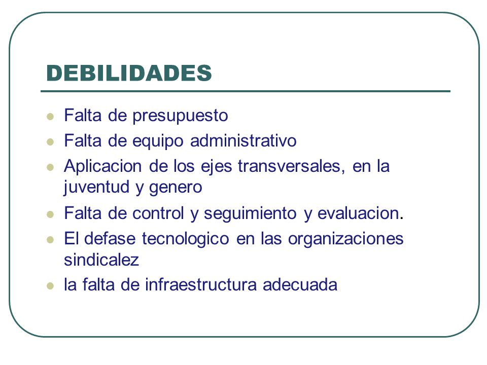 DEBILIDADES Falta de presupuesto Falta de equipo administrativo Aplicacion de los ejes transversales, en la juventud y genero Falta de control y segui