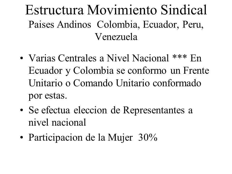 Estructura Movimiento Sindical Paises Andinos Colombia, Ecuador, Peru, Venezuela Varias Centrales a Nivel Nacional *** En Ecuador y Colombia se confor