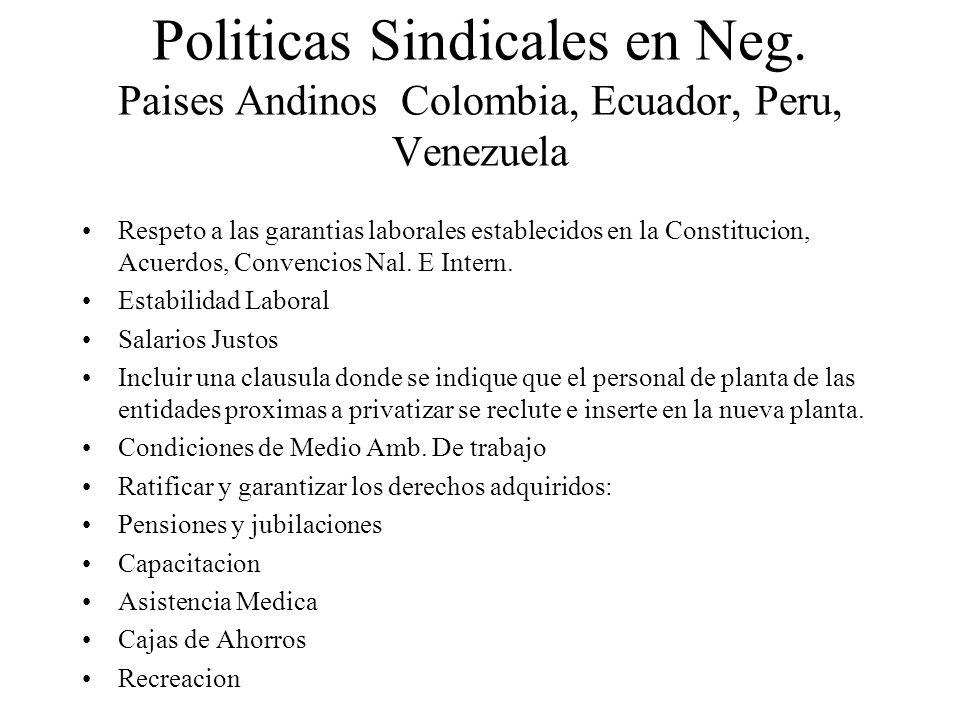 Politicas Sindicales en Neg. Paises Andinos Colombia, Ecuador, Peru, Venezuela Respeto a las garantias laborales establecidos en la Constitucion, Acue