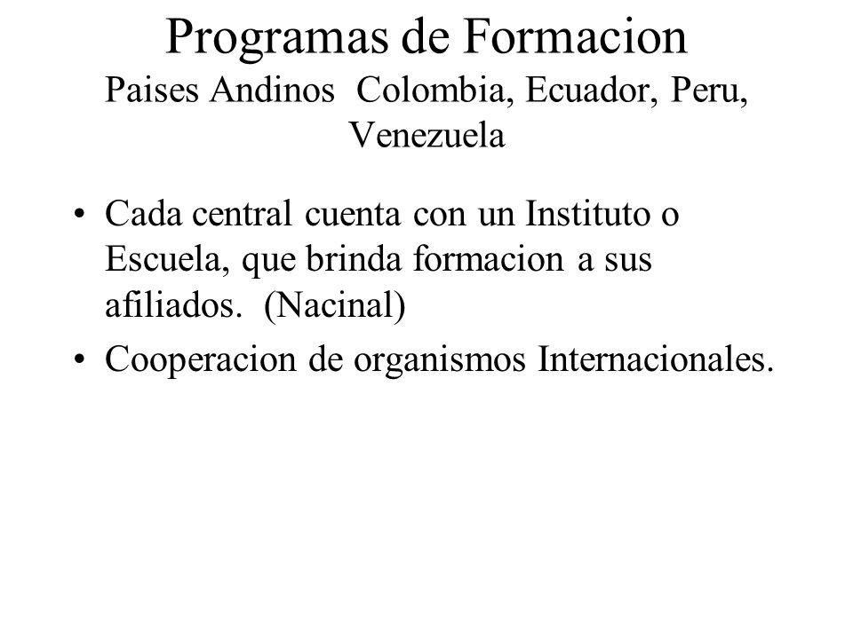 Programas de Formacion Paises Andinos Colombia, Ecuador, Peru, Venezuela Cada central cuenta con un Instituto o Escuela, que brinda formacion a sus af
