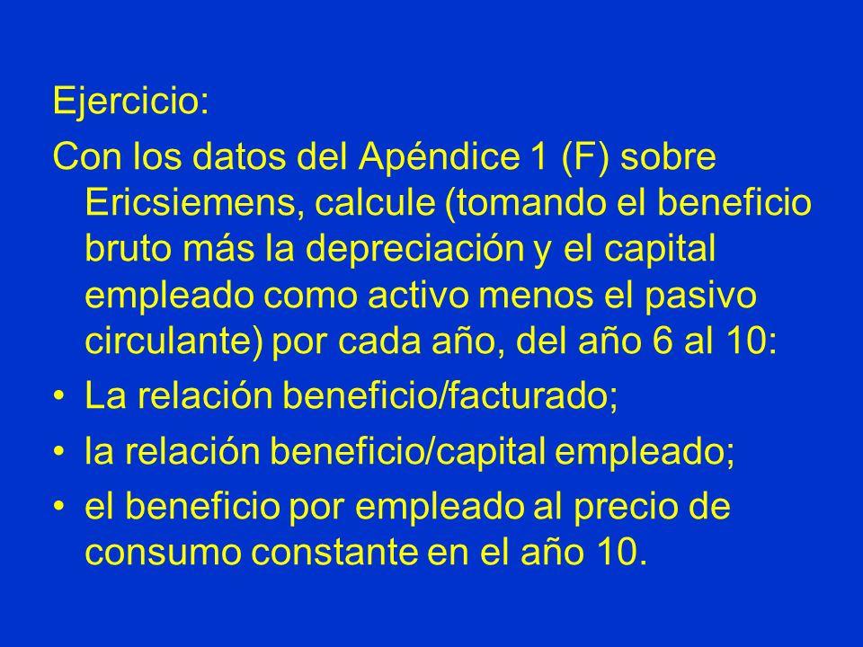 Ejercicio: Con los datos del Apéndice 1 (F) sobre Ericsiemens, calcule (tomando el beneficio bruto más la depreciación y el capital empleado como acti
