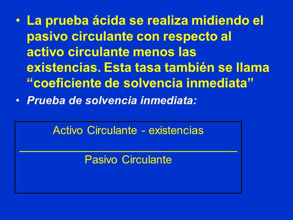 La prueba ácida se realiza midiendo el pasivo circulante con respecto al activo circulante menos las existencias. Esta tasa también se llama coeficien