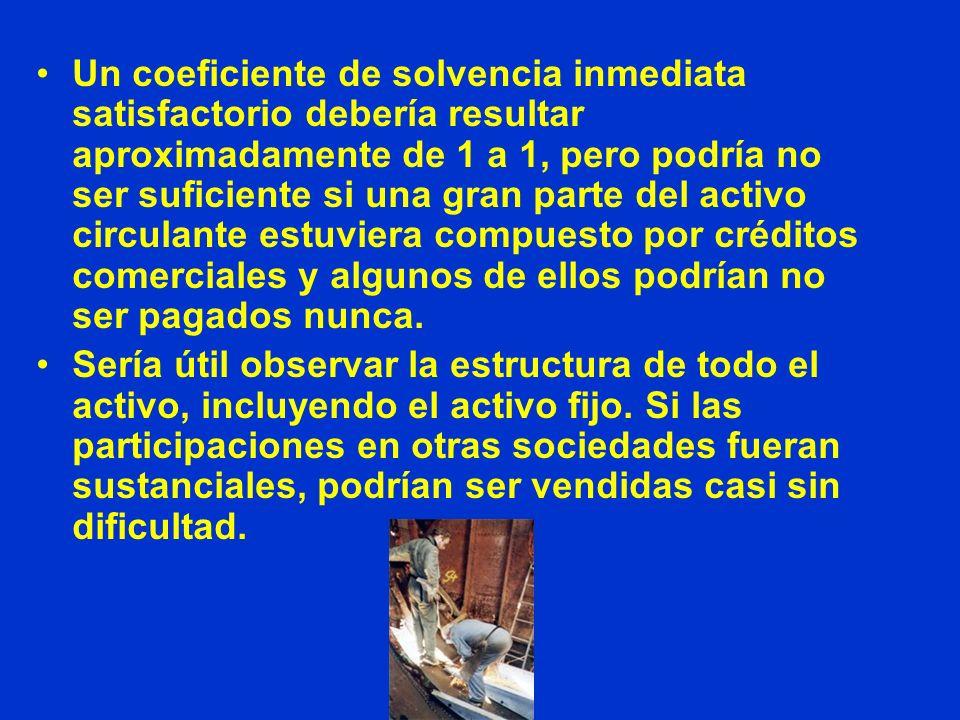 Un coeficiente de solvencia inmediata satisfactorio debería resultar aproximadamente de 1 a 1, pero podría no ser suficiente si una gran parte del act