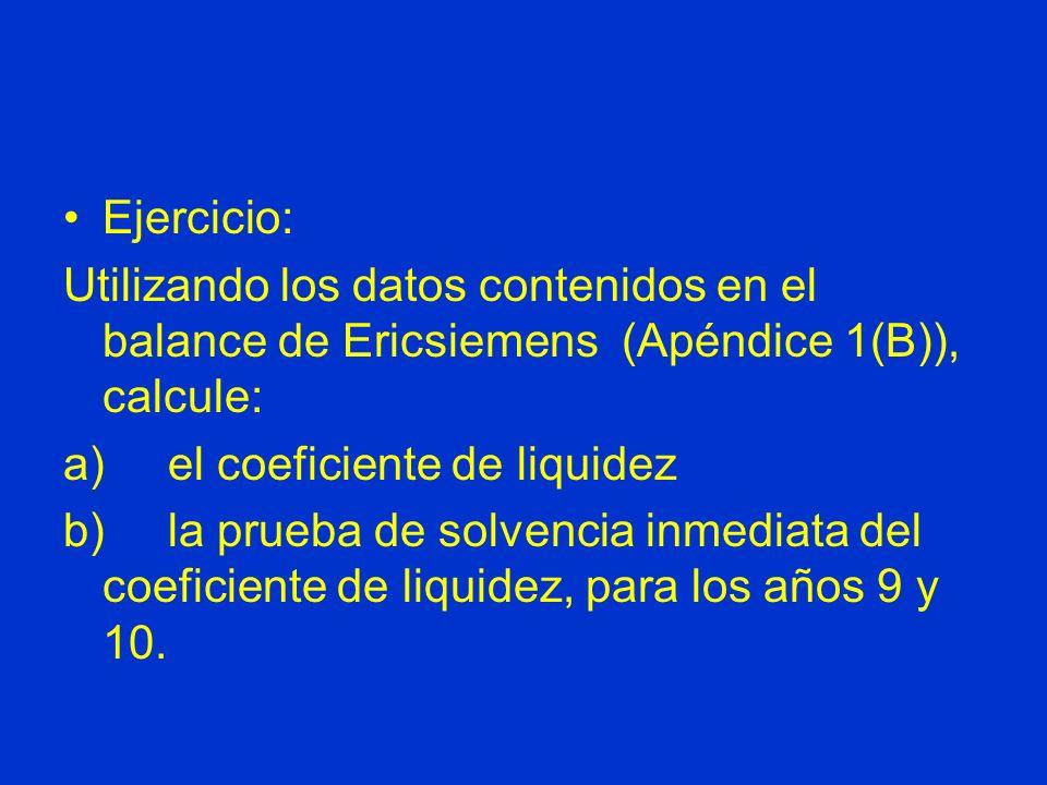 Ejercicio: Utilizando los datos contenidos en el balance de Ericsiemens (Apéndice 1(B)), calcule: a) el coeficiente de liquidez b) la prueba de solven