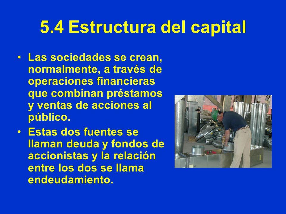 5.4Estructura del capital Las sociedades se crean, normalmente, a través de operaciones financieras que combinan préstamos y ventas de acciones al púb