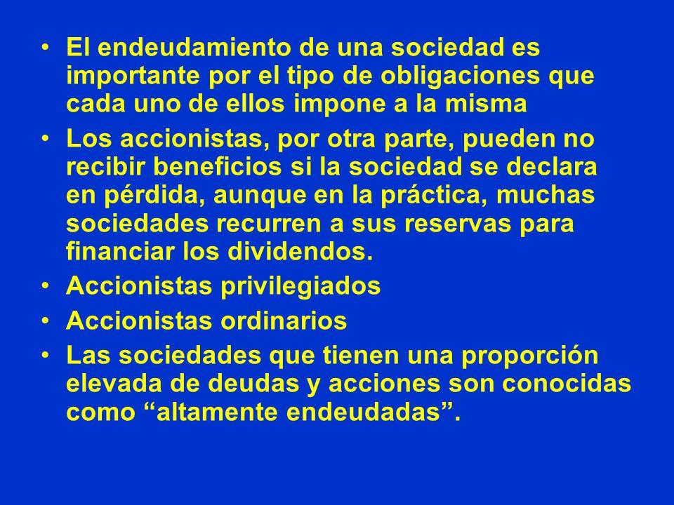 El endeudamiento de una sociedad es importante por el tipo de obligaciones que cada uno de ellos impone a la misma Los accionistas, por otra parte, pu