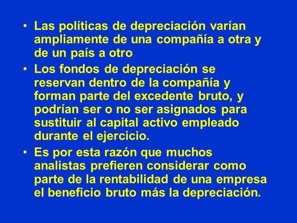Las políticas de depreciación varían ampliamente de una compañía a otra y de un país a otro Los fondos de depreciación se reservan dentro de la compañ