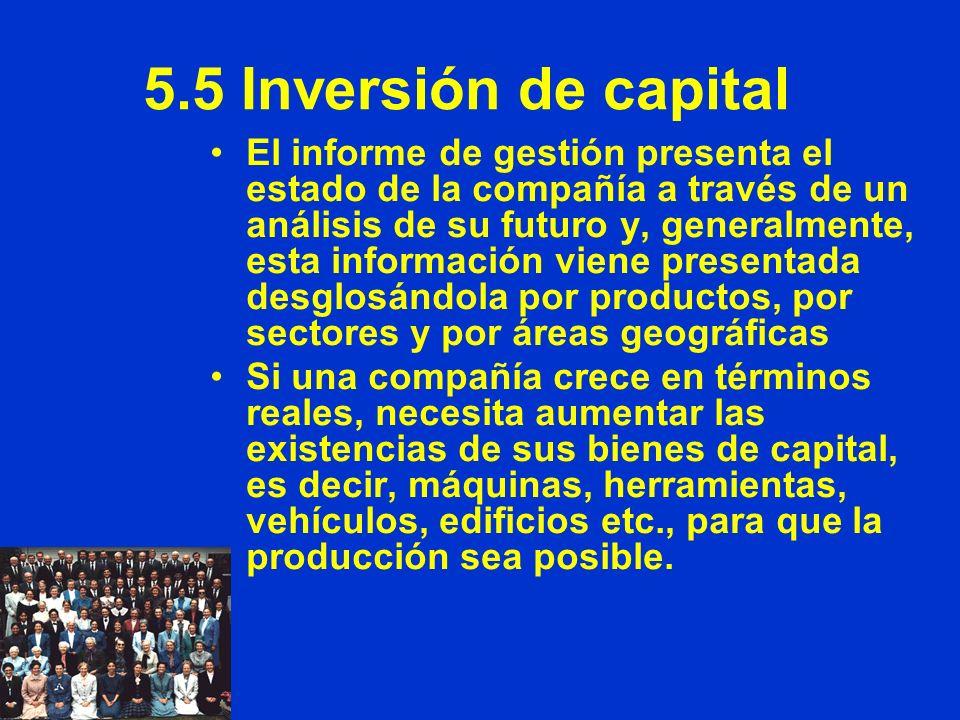 5.5 Inversión de capital El informe de gestión presenta el estado de la compañía a través de un análisis de su futuro y, generalmente, esta informació