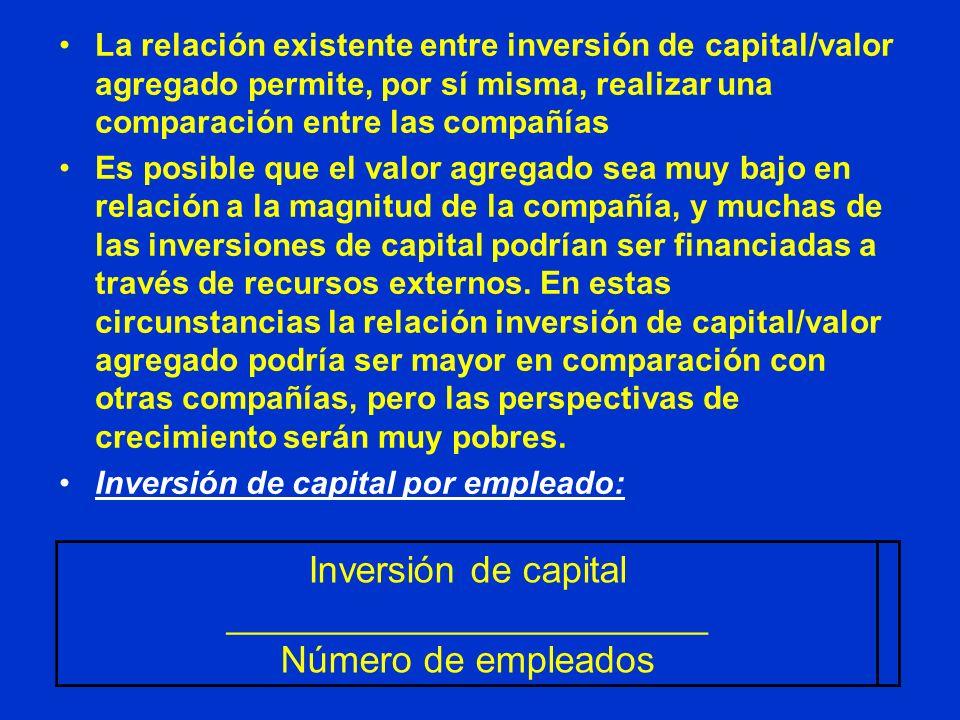 La relación existente entre inversión de capital/valor agregado permite, por sí misma, realizar una comparación entre las compañías Es posible que el