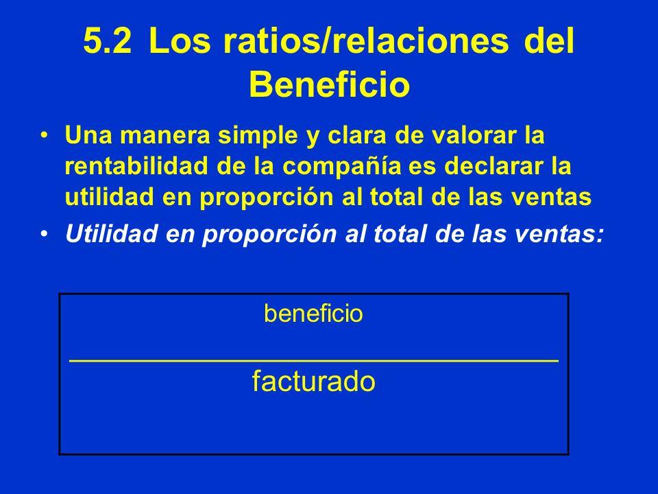 5.2Los ratios/relaciones del Beneficio Una manera simple y clara de valorar la rentabilidad de la compañía es declarar la utilidad en proporción al to