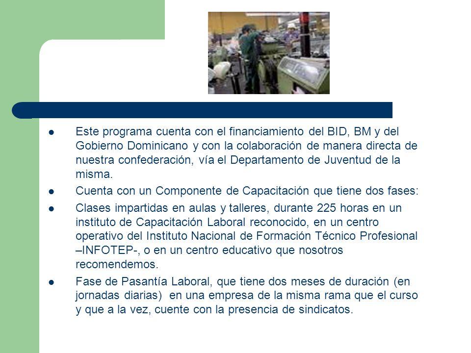 Este programa cuenta con el financiamiento del BID, BM y del Gobierno Dominicano y con la colaboración de manera directa de nuestra confederación, vía el Departamento de Juventud de la misma.
