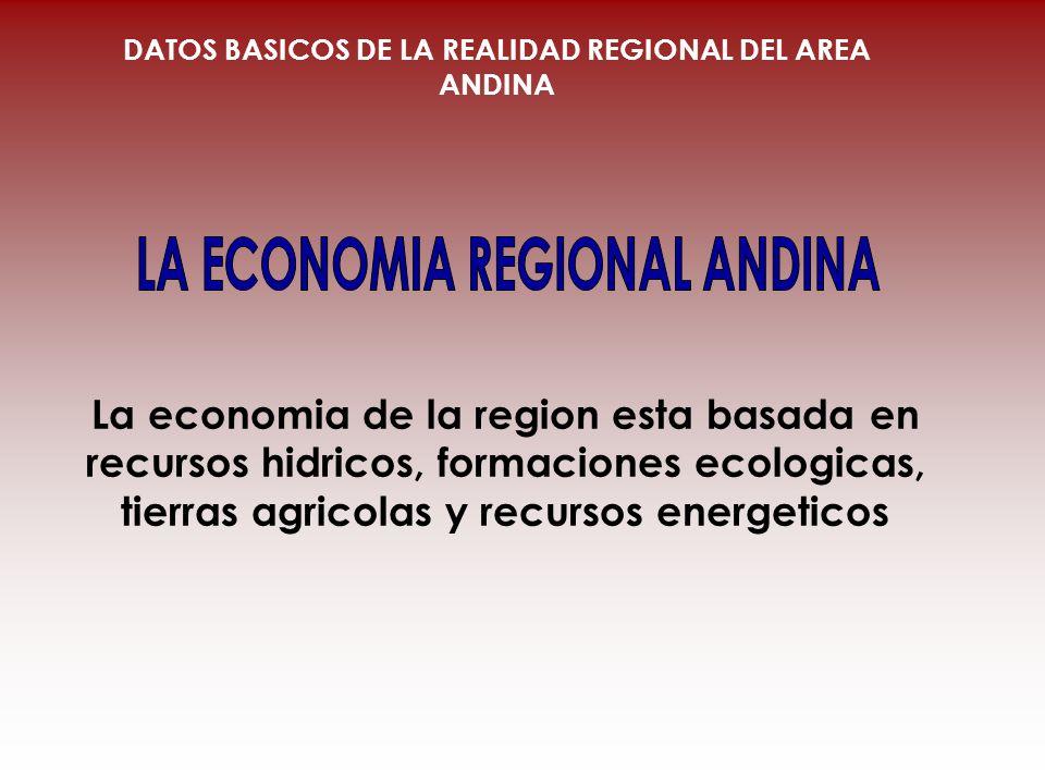 La economia de la region esta basada en recursos hidricos, formaciones ecologicas, tierras agricolas y recursos energeticos DATOS BASICOS DE LA REALID