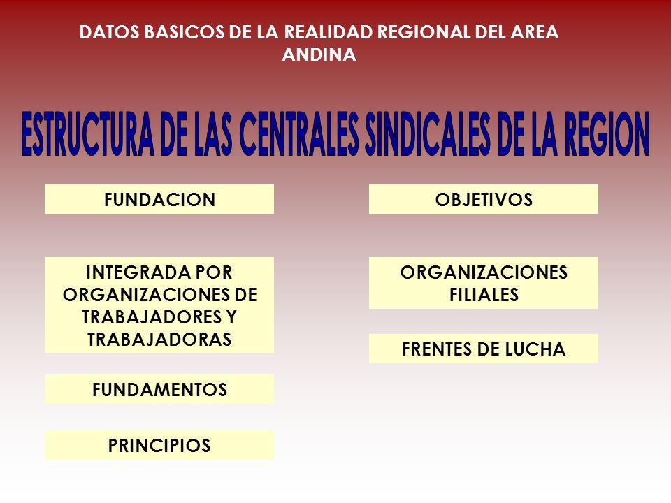 OBJETIVOS ORGANIZACIONES FILIALES FUNDACION INTEGRADA POR ORGANIZACIONES DE TRABAJADORES Y TRABAJADORAS FUNDAMENTOS PRINCIPIOS FRENTES DE LUCHA