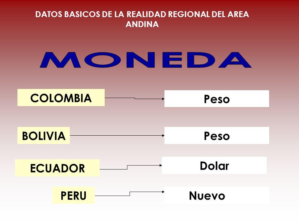 COLOMBIA BOLIVIA PERU Peso Dolar DATOS BASICOS DE LA REALIDAD REGIONAL DEL AREA ANDINA ECUADOR Nuevo Sol
