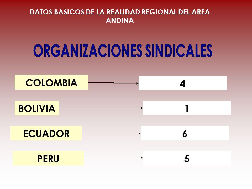 COLOMBIA BOLIVIA ECUADOR 4 1 6 DATOS BASICOS DE LA REALIDAD REGIONAL DEL AREA ANDINA 5PERU