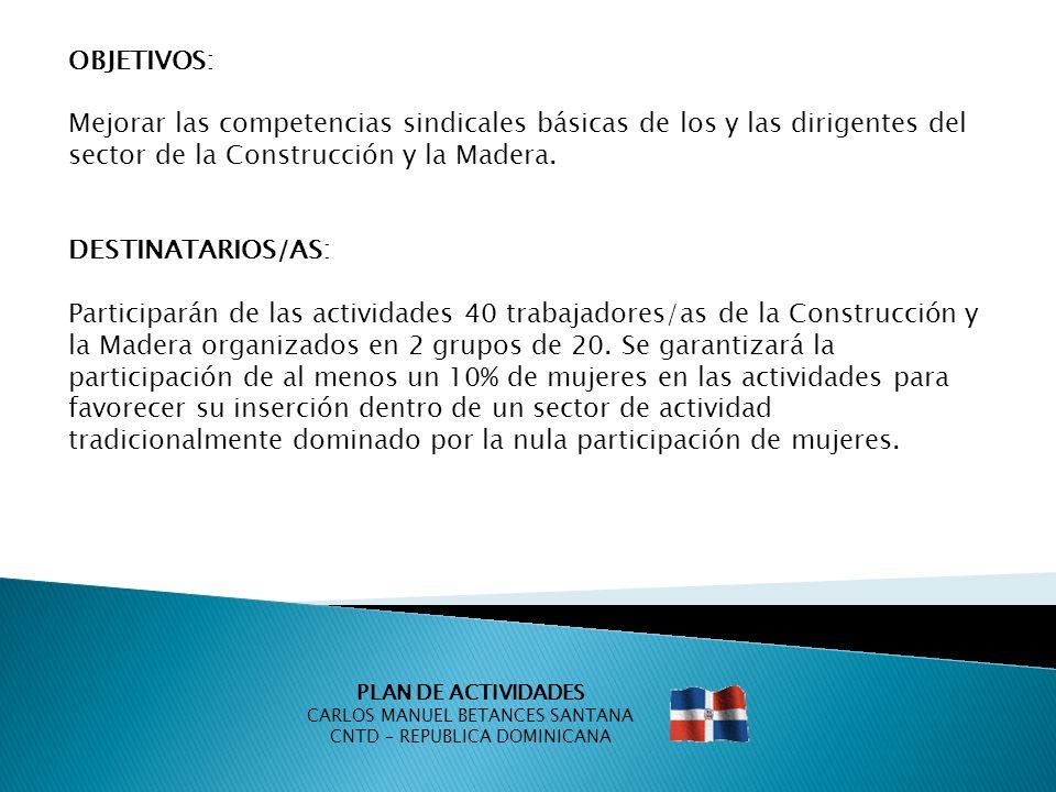 PLAN DE ACTIVIDADES CARLOS MANUEL BETANCES SANTANA CNTD – REPUBLICA DOMINICANA OBJETIVOS: Mejorar las competencias sindicales básicas de los y las dir
