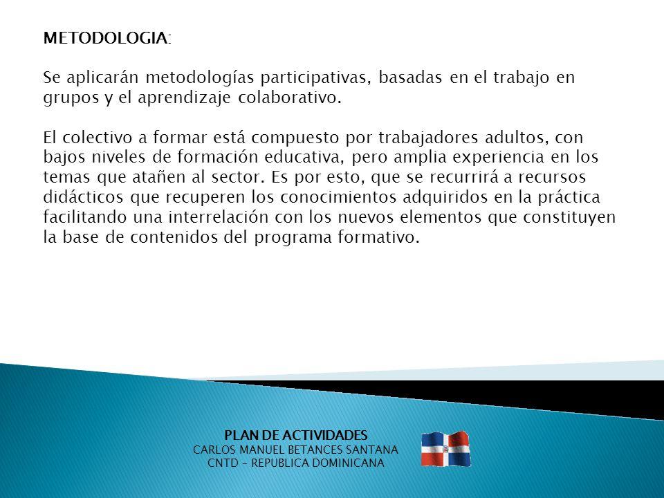 PLAN DE ACTIVIDADES CARLOS MANUEL BETANCES SANTANA CNTD – REPUBLICA DOMINICANA METODOLOGIA: Se aplicarán metodologías participativas, basadas en el tr