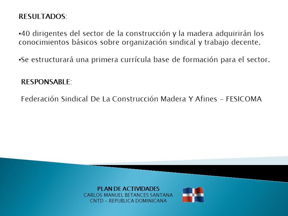 PLAN DE ACTIVIDADES CARLOS MANUEL BETANCES SANTANA CNTD – REPUBLICA DOMINICANA RESULTADOS: 40 dirigentes del sector de la construcción y la madera adq