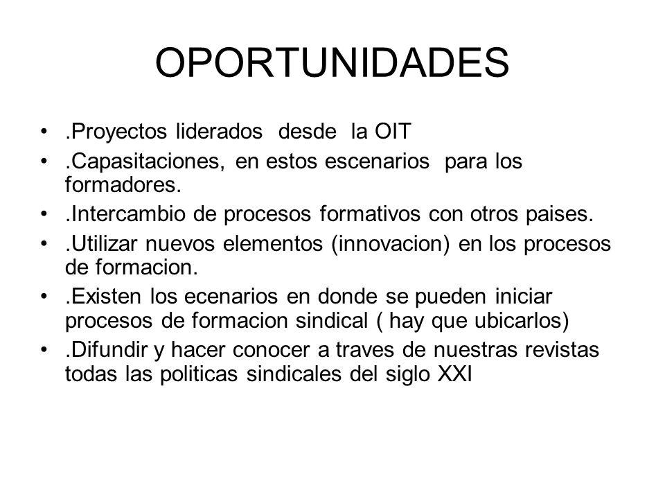 OPORTUNIDADES.Proyectos liderados desde la OIT.Capasitaciones, en estos escenarios para los formadores..Intercambio de procesos formativos con otros p