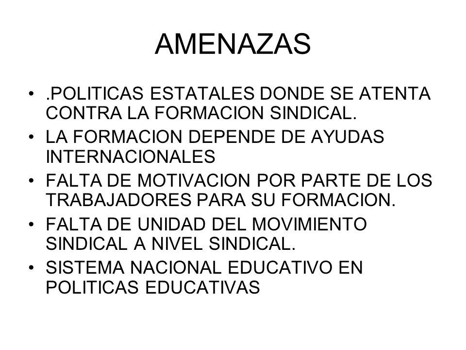 AMENAZAS.POLITICAS ESTATALES DONDE SE ATENTA CONTRA LA FORMACION SINDICAL. LA FORMACION DEPENDE DE AYUDAS INTERNACIONALES FALTA DE MOTIVACION POR PART